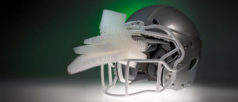 VICIS Helmet with microlattice pads (picture credit HRL Laboratories)