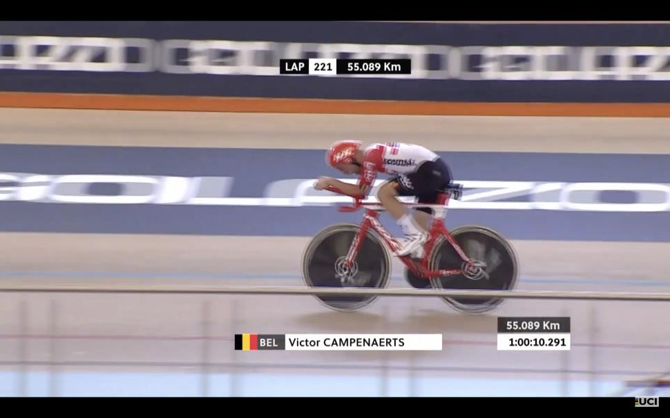 Victor Campenaerts takes UCI hour record
