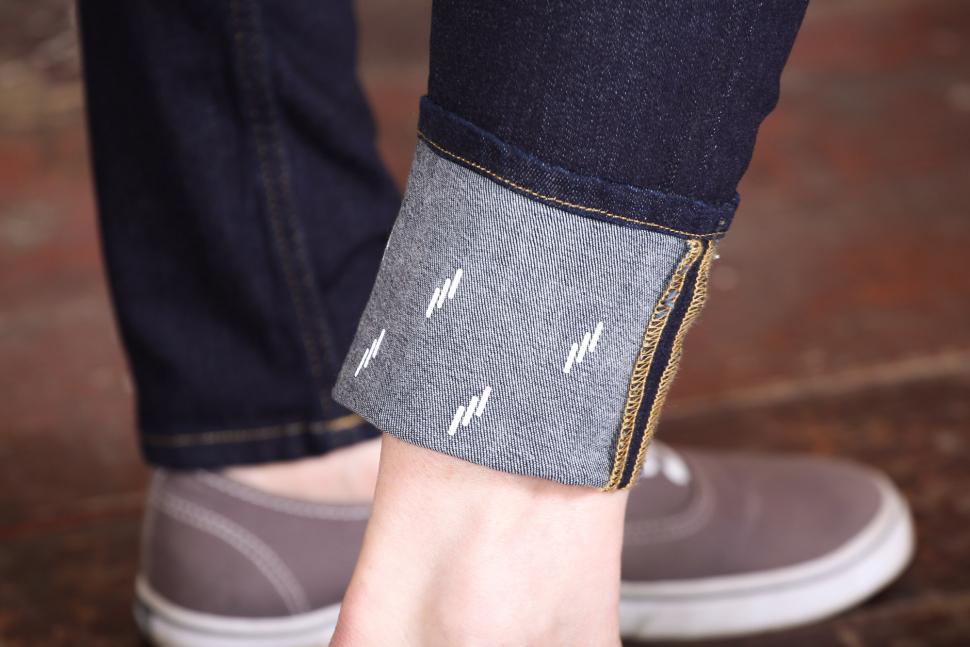 Vulpine Womens Urban Cycling Jeans - reflective cuffs.jpg