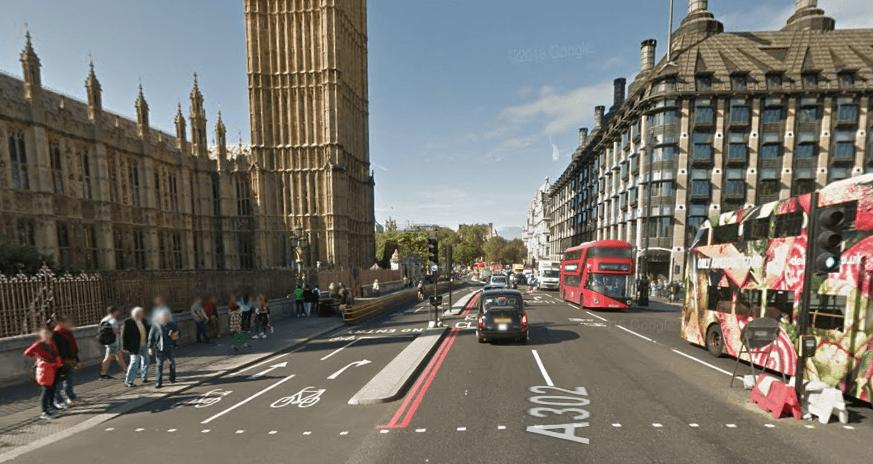 Westminster Bridge Google Street View Sep 2016 looking west.PNG