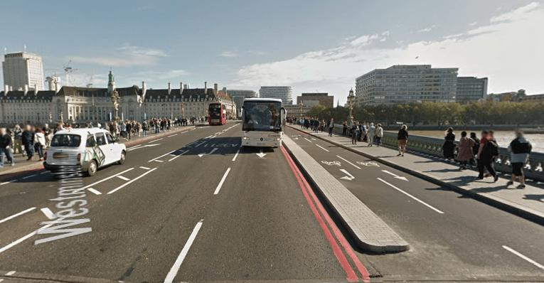 Westminster Bridge Google Street View Sep 2016 looking east.PNG