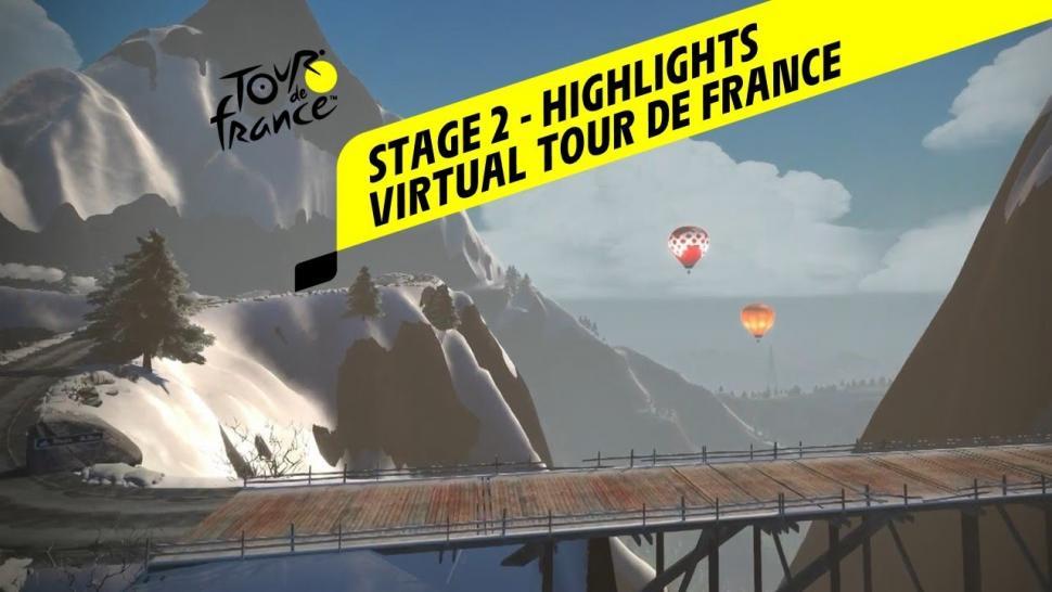 Video highlights as Virtual Tour de France heads into the mountains