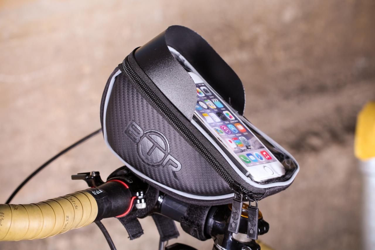 Waterproof Bicycle Cycling MTB Bike Cell Phone Holder Case Black Handlebar Bag