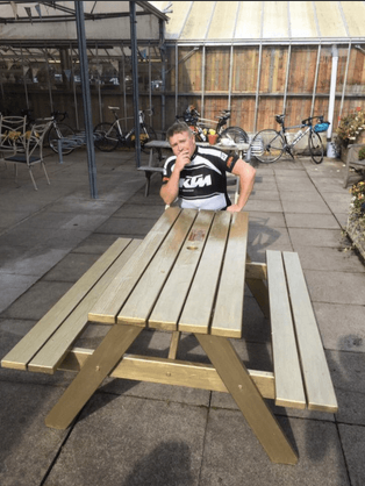 Man Celebrates Meeting Hero Wiggins By Painting Picnic Bench Gold Road Cc