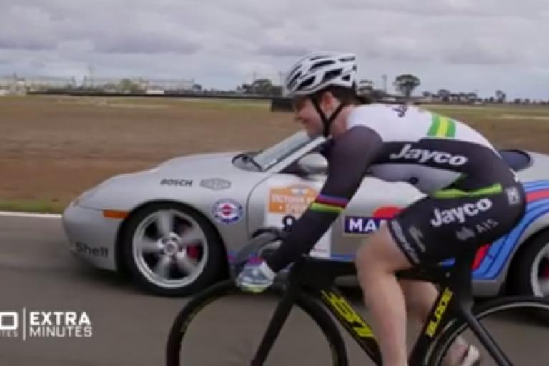 Anna Meares vs Porsche Boxster (Facebook video still from 60 Minutes Australia).PNG