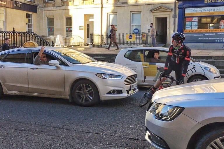 Bath taxi driver drives into Edmund Bradbury