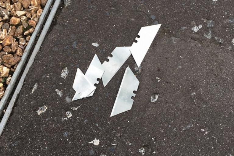 Belfast bike path blades (credit PSNI)