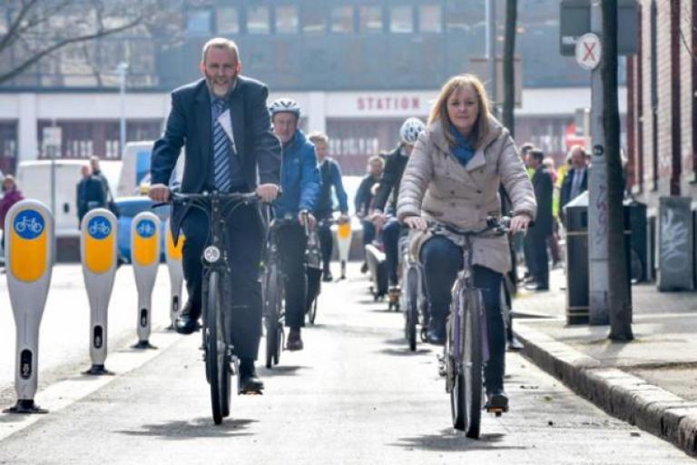 Belfast bike route Alfred Street (Image by Department for Regional Development, Northern Ireland)
