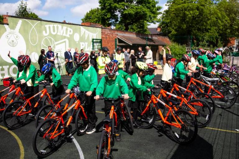 British Cycling and HSBC give bikes to children in Birmingham (picture ctedit British Cycling)
