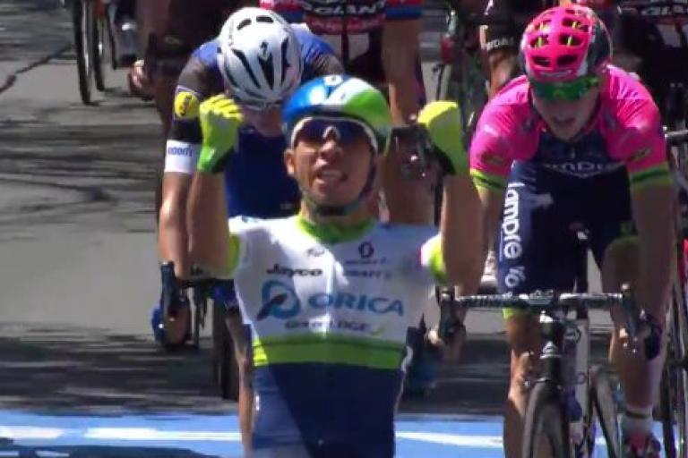 Caleb Ewan wins 2016 Tour Down Under Stage 6 YouTube still.JPG