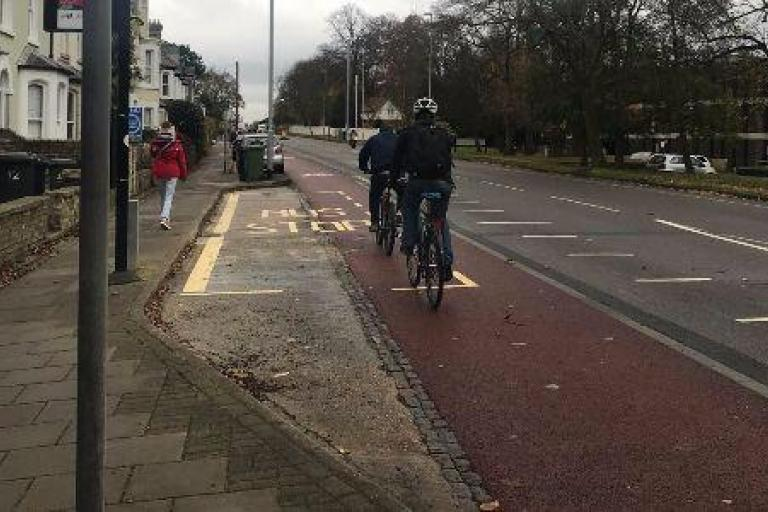 Cambridge kerbed cycleway (picture via Cambridgeshire County Council)