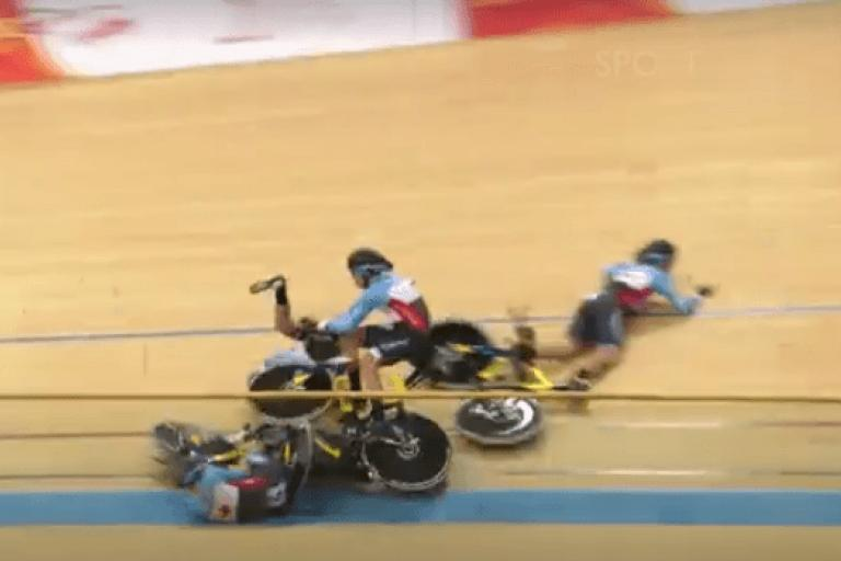 Canada team pursuit crash at UCI Track World Championships 2017 (video still via BBC Sport).PNG