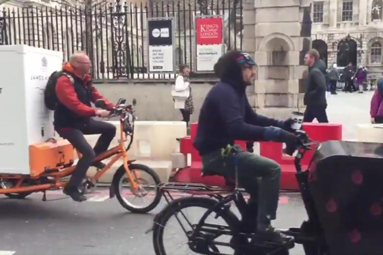 Cargo bike convoy (via Twitter video)