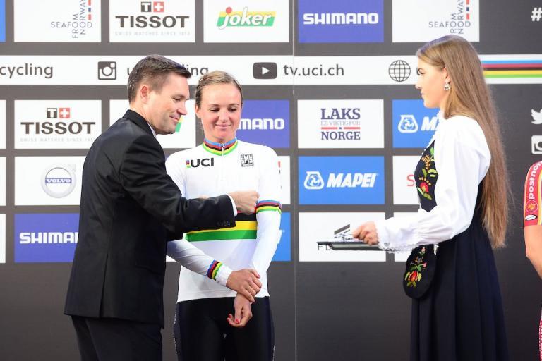 Chantal Blaak in the rainbow jersey (source UCI Cycling on Twitter).jpg
