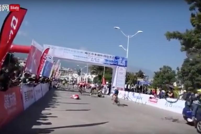 Chinese bike race two way crash.png