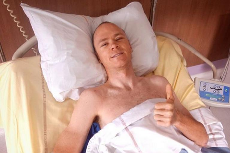 Chris Froome in hospital (via Instagram).PNG