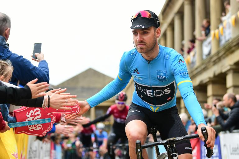 Chris Lawless at start of Stage 4 of 2019 Tour de Yorkshire (picture credit Alex Whiehead, SWPix.com).JPG