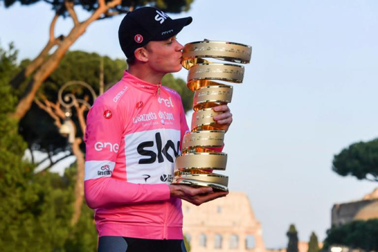 Chris Froome with Giro d'Italia trophy (picture LaPresse).jpg