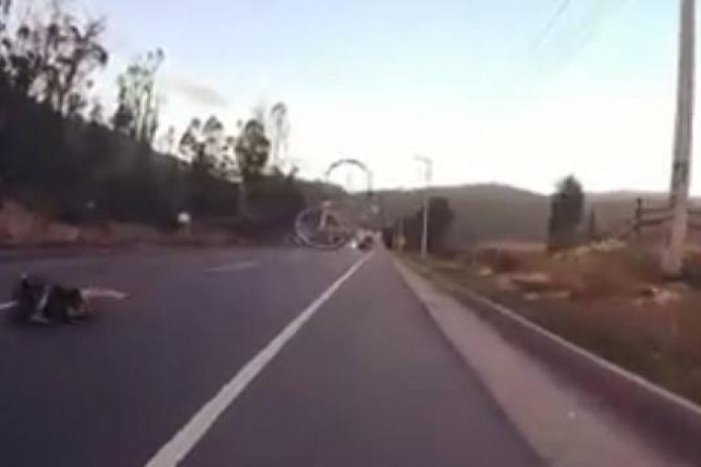 Cyclist and bike part ways (via Facebook video).jpg