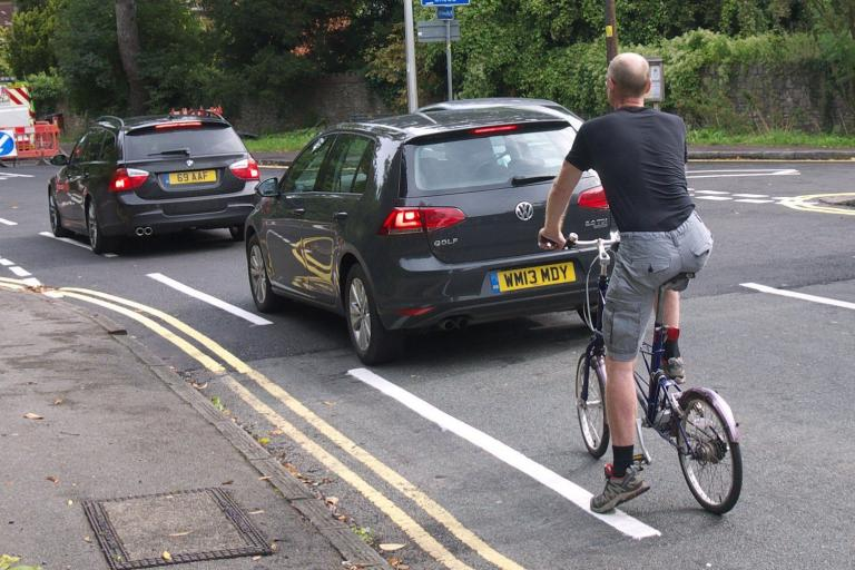 Cyclist not passing on the left - image cc licensed by Sam Saunders on Flickr.jpg