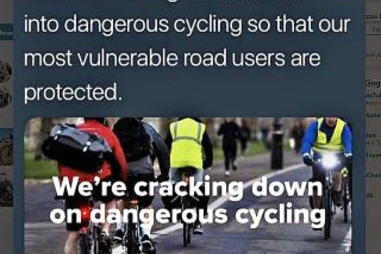 Dangerous cycling tweet