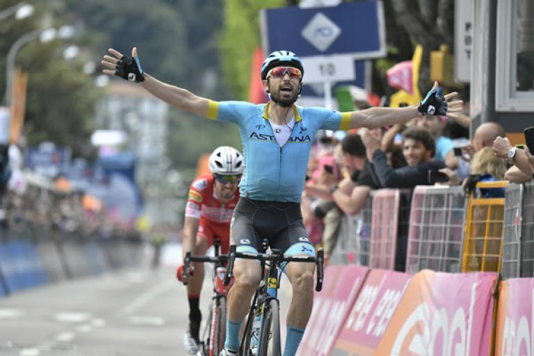 Dario Cataldo wins Stage 15 of 2019 Giro d'Italia in Como (credit RCS Sport, LaPresse)