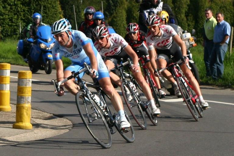 Davide Rebellin leads Schleck brothers and Valverde at LBL 2008 (licensed CC BY-SA 3.0 lu by Les Meloures)