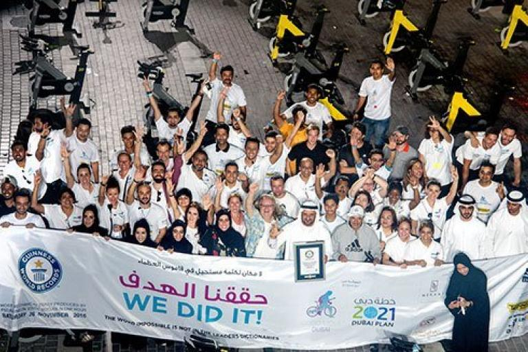 Dubai-static-cycling-attempt-amongst-bikes (image by Guinness World Records)