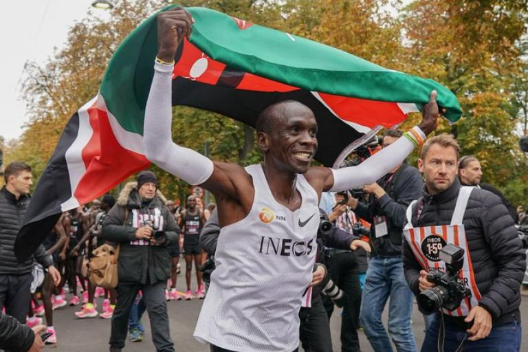 Eliud Kipchoge after running sub 2-hour Marathon (picture via Ineos 1.59 challenge on Twitter)