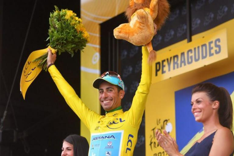 Fabio Aru in yellow after Stage 12 of 2017 Tour de France (credit Bettini Photo via Astana Team).jpg