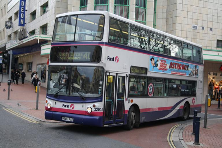 FirstBus-operated double decker in Bristol (licensed CC BY ND 2.0 by Eddie on Flickr)