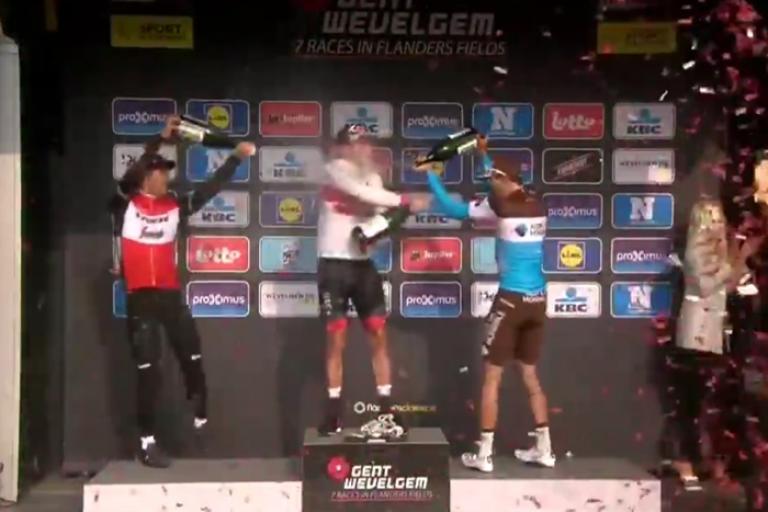 Gent-Wevelgem podium (via Twitter video)