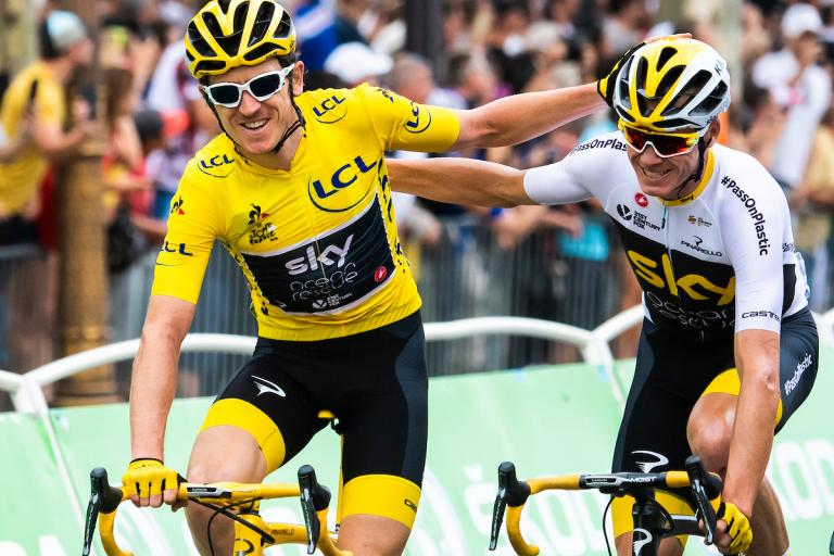 Geraint Thomas and Chris Froome on final stage of 2018 Tour de France, picture credit ASO, Alex Broadway KASK cycling helmets
