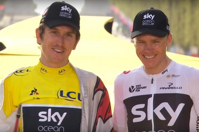 Geraint Thomas and Chris Froome on Tour de France podium (via YouTube)