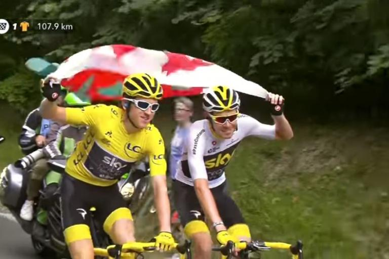 Geraint Thomas and Luke Rowe with the Welsh flag.JPG