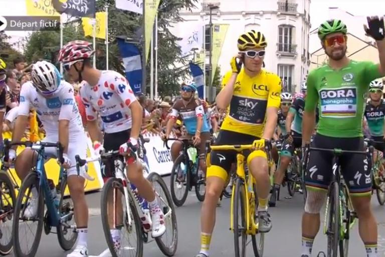 Geraint Thomas at start of Tour de France 2018 Stage 21.JPG
