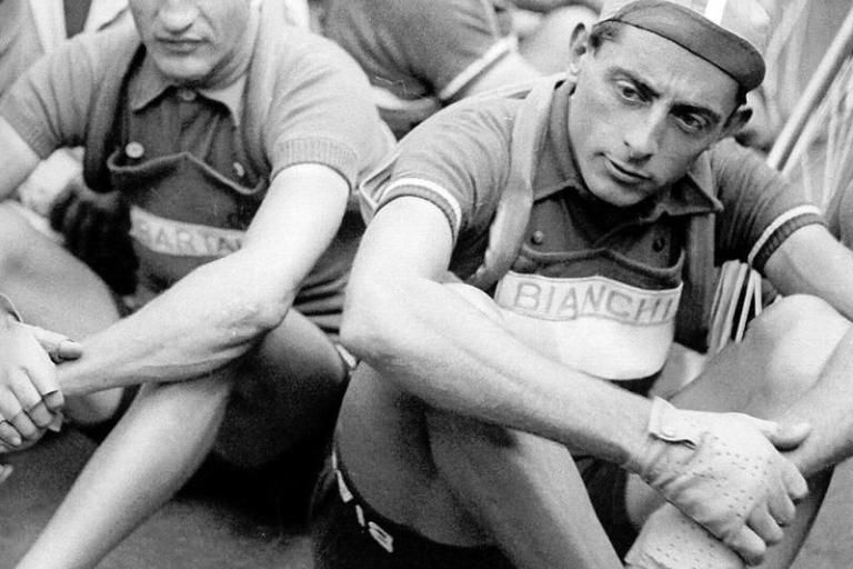Gino Bartali (L) with great rival Fausto Coppi (CC licensed by Tsuru1111-Flickr).jpg