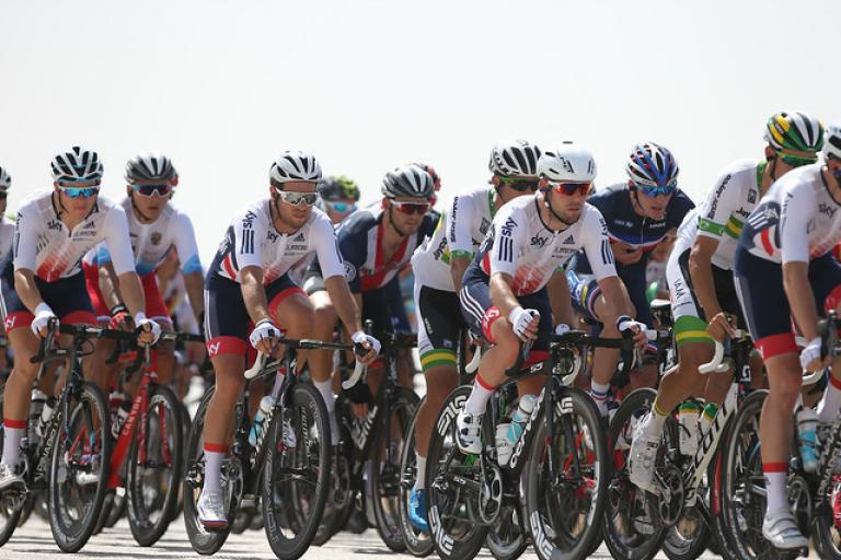 Great Britain in tthe men's road race at the 2016 UCI Road World Championships (picture Britishcycling.org_.uk)