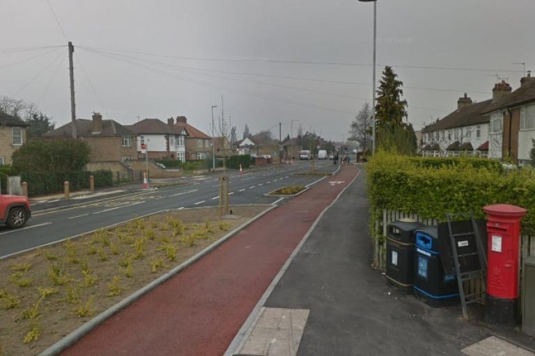 Green End Road cycle lane (via StreetView)