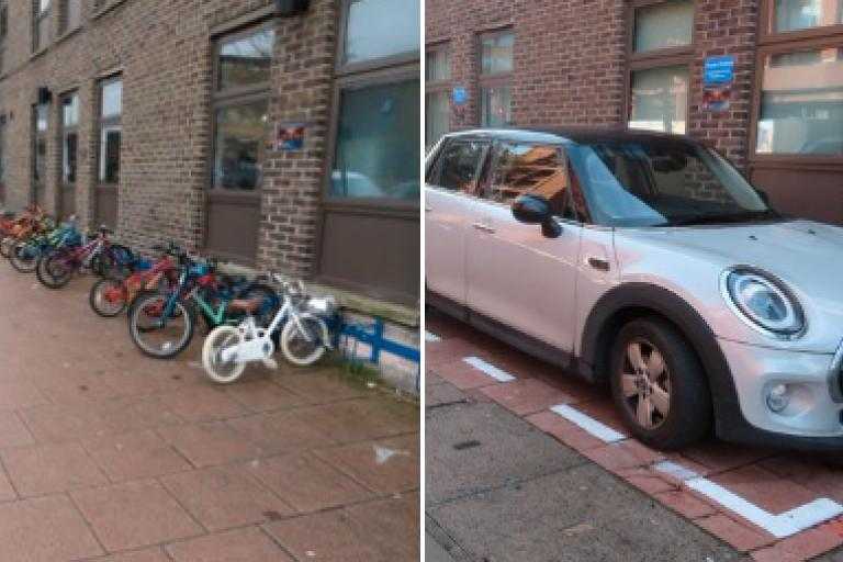 Hackney New School car parking space replace bike spaces - credit Hackney Cyclist on Twitter.PNG