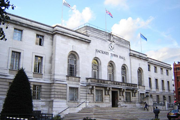Hackney Town Hall (licensed CC BY SA 2.5 on Wikimedia Commons by Tarquin Binary)