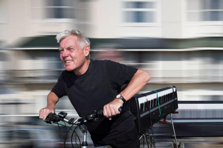 Mike Hatchard cycling with keyboard