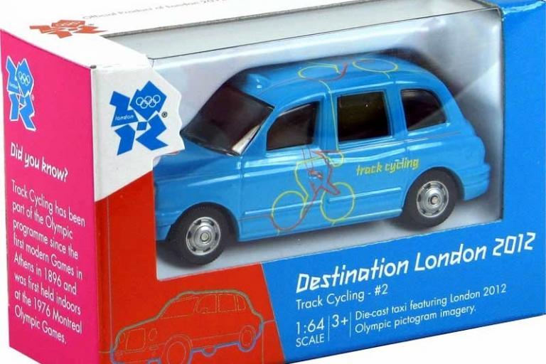 Corgi 'Destination London' Olympics 2012 1:64 taxi with cycling livery