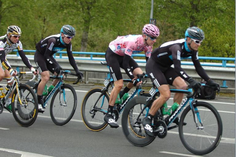 Giro d'Italia 2010 Stage 2 Team Sky defending Bradley Wiggins in pink but all undone at 7K to go