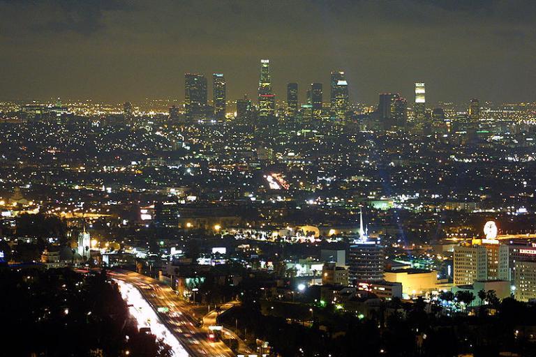 Los Angeles skyline at night (copyright Thomas Pintario:Wikimedia Commons).jpg