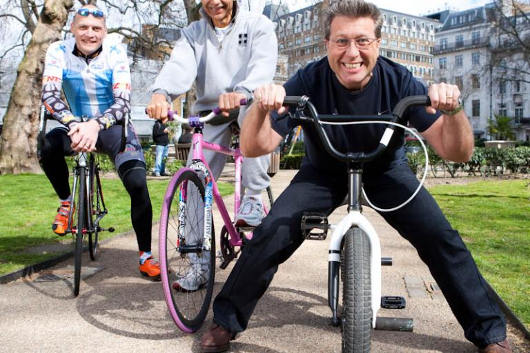 Guess which one's the DJ? Neil Fox, Snowy White and Magnus Bäcksted launch Unite ByCycling