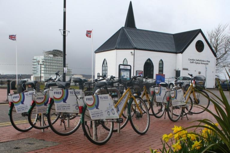 OYBikes outside Cardiff's iconic Norwegian church,courtesy OYBikes.jpg