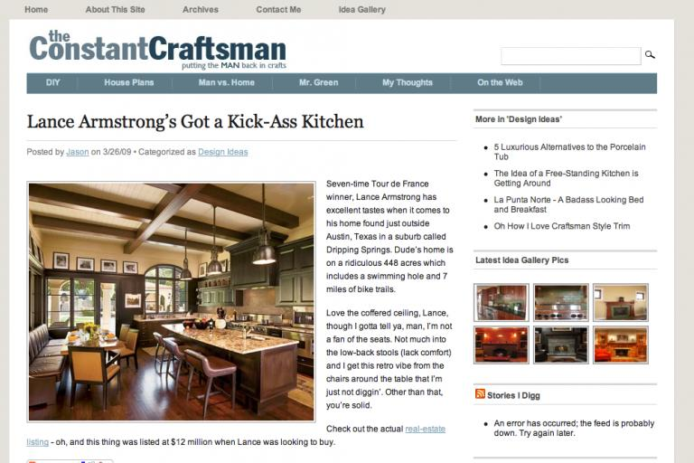 The Constant Craftsman (Lance Armstrong's kitchen)