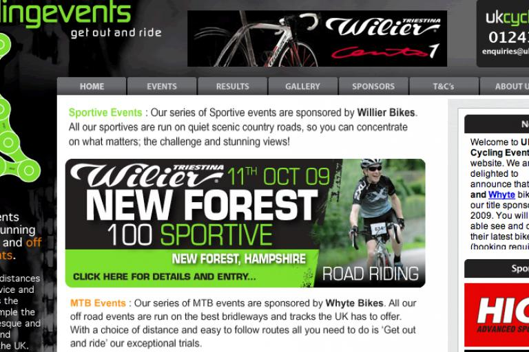 UK Cycling Events homepage