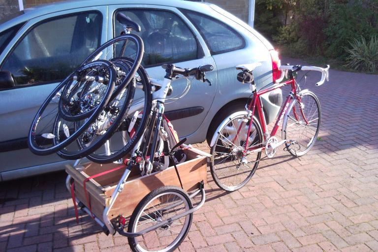 Bike trailer with bike rack